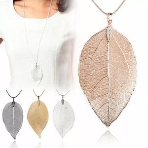🆕 Gold/ Silver Natural Leaf Necklace